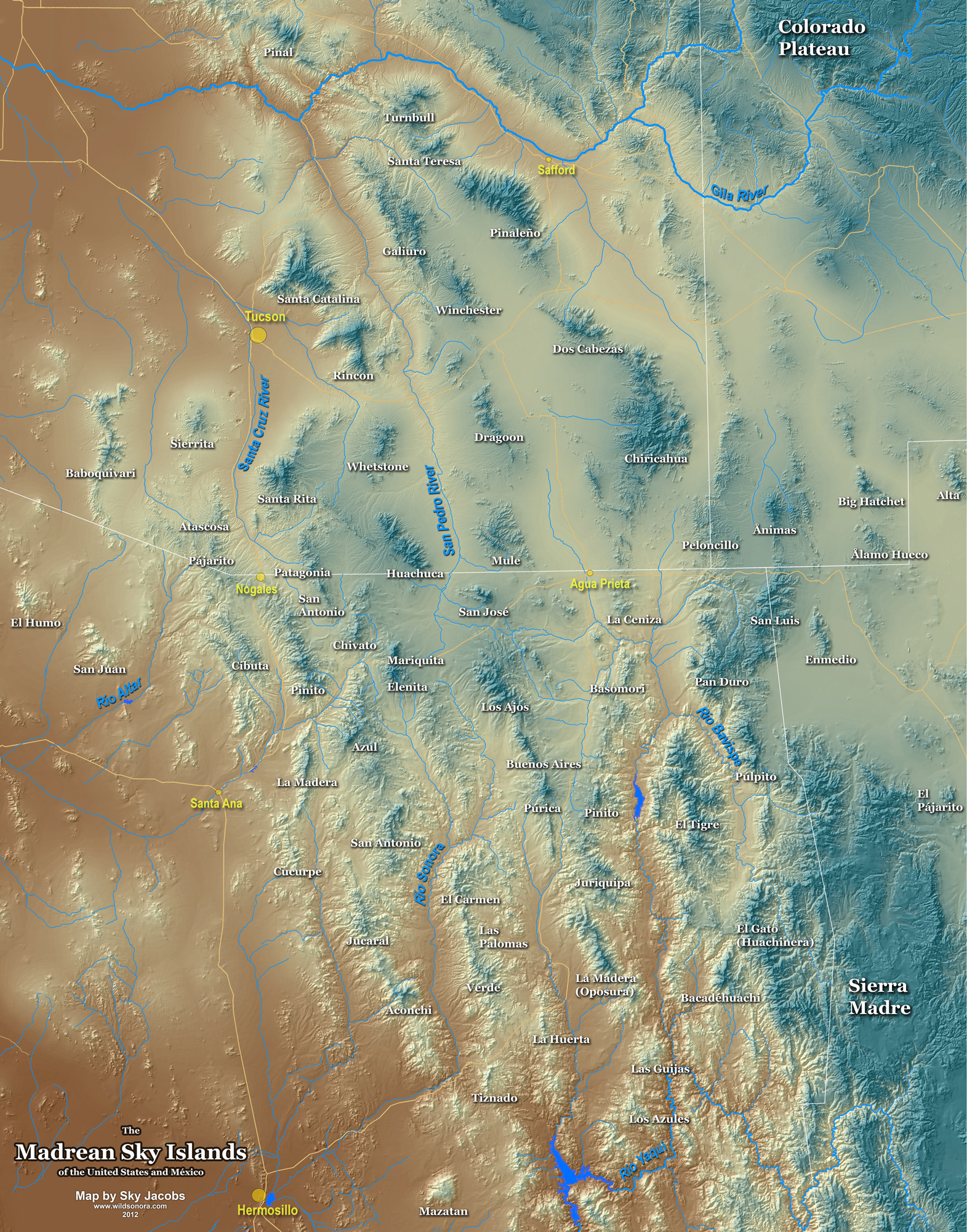 Map Of Arizona And New Mexico.Map Of The Sky Island Region Of Arizona Sonora New Mexico And