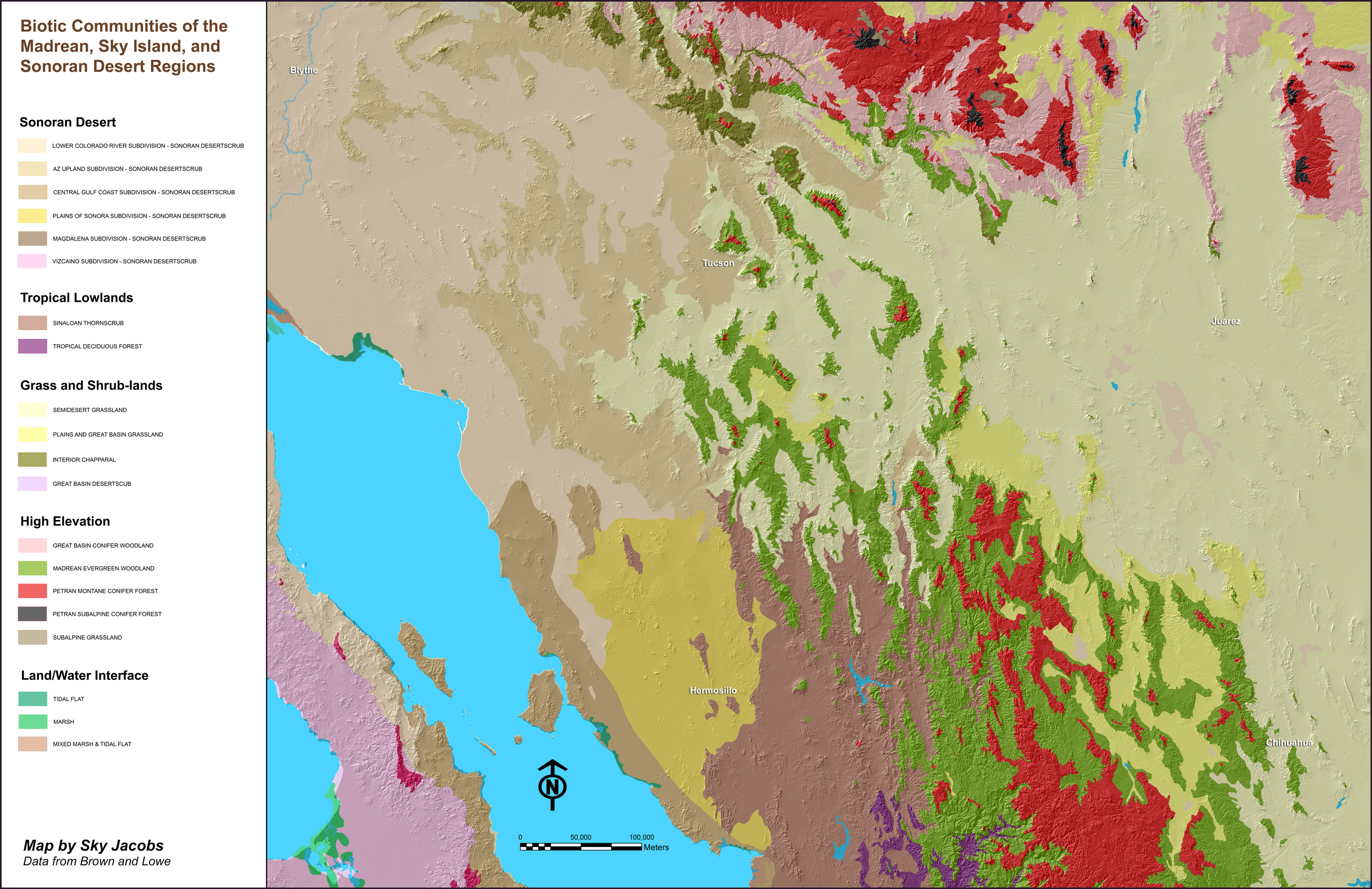 Southwest America Map.Vegetation Communities Of Southwestern North America Wild Sonora