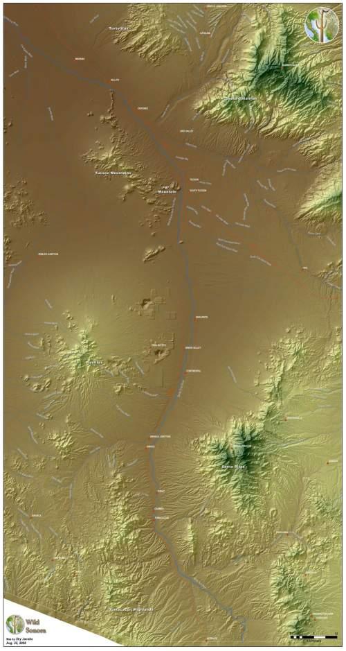 Map of the upper Santa Cruz River watershed in Arizona