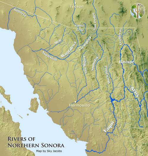 Map of the rivers of northern Sonora, Mexico