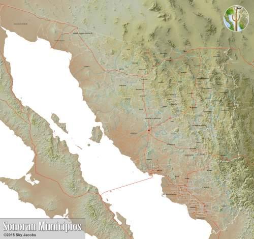Map of Municipios of Sonora, Mexico