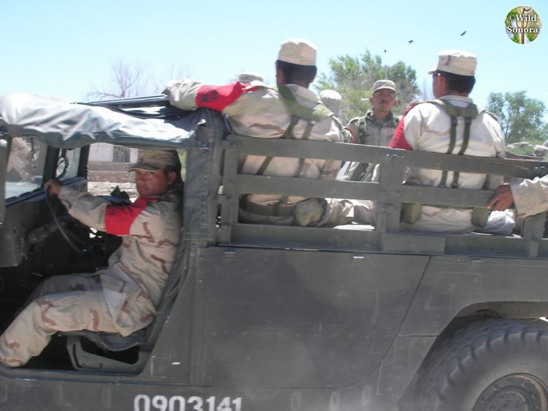 Mexican soldiers in humvee, Sonora