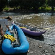 Floating the Santa Cruz River in inflatable kayaks
