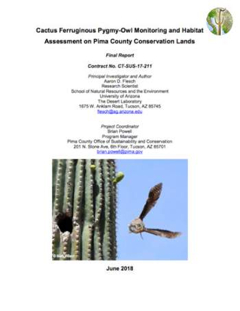 Cover of Cactus Ferruginous Pygmy-Owl Monitoring and Habitat Assessment on Pima County Conservation Lands