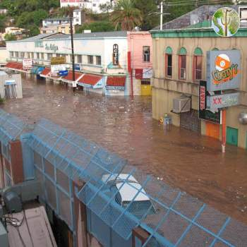 Flooding at the border wall in Nogales