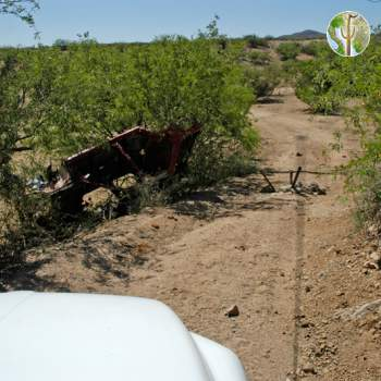 Tank Trap and overturned car, Sonora