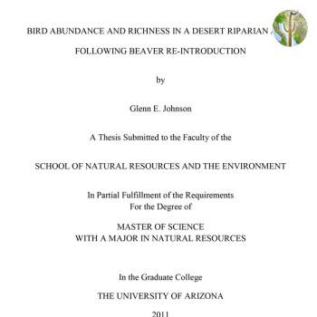 Cover of Bird Abundance and Richness in a Desert Riparian Area Following Beaver Re-introduction