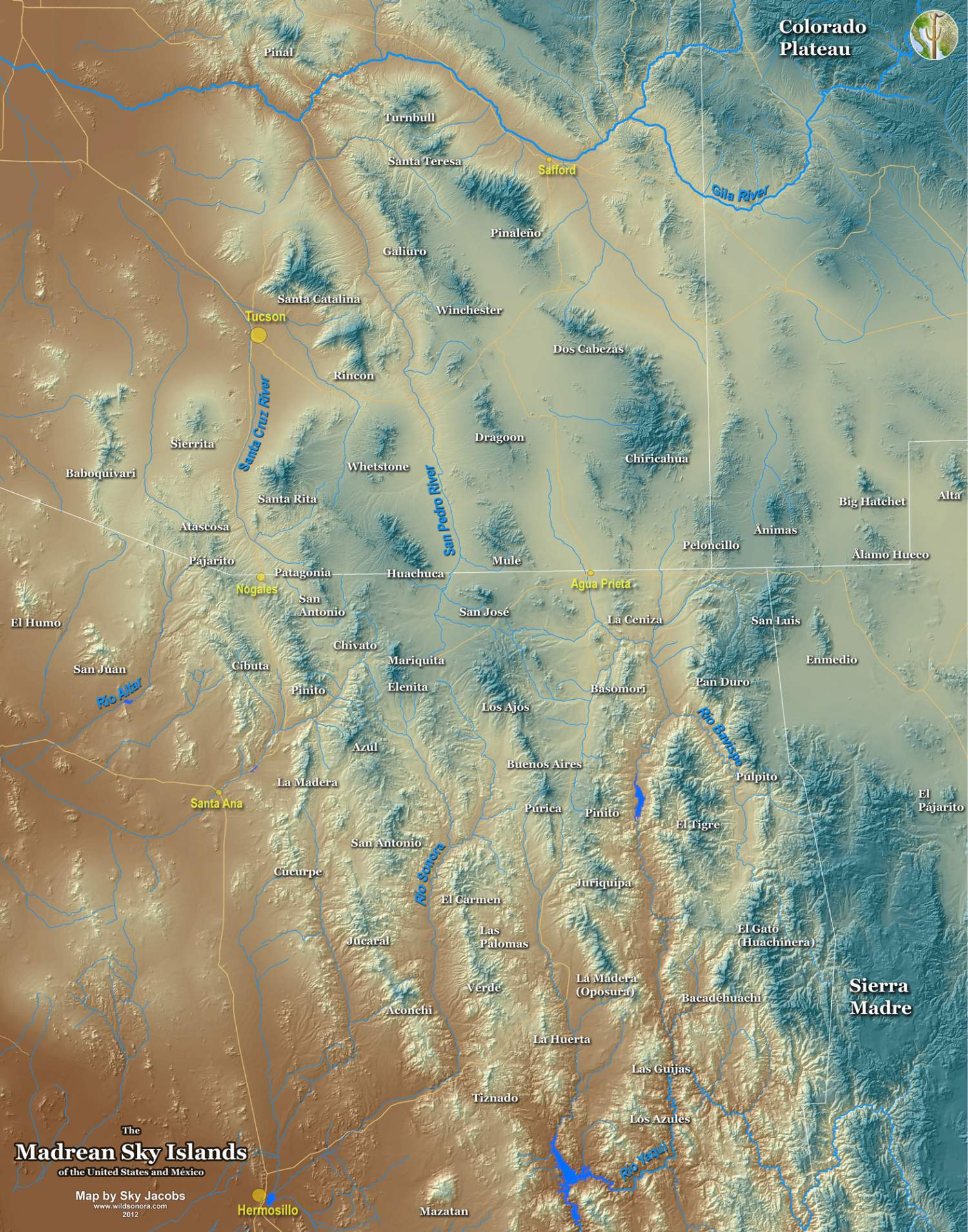 Map of the Sky Island region of Arizona, Sonora, New Mexico, and Chihuahua