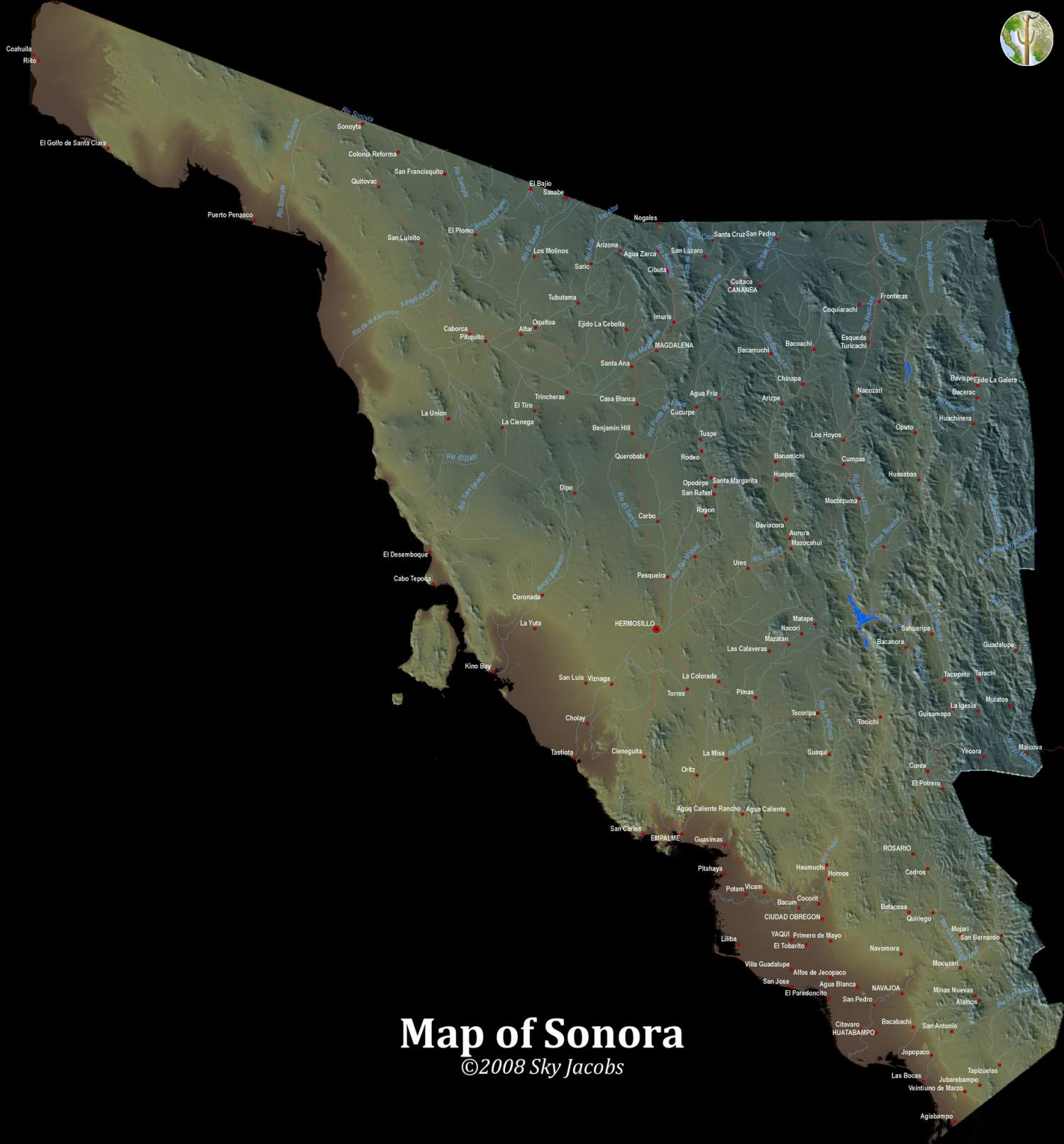 Map of topography, major roads, and rivers of Sonora, Mexico