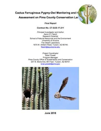 Cactus Ferruginous Pygmy-Owl Monitoring and Habitat